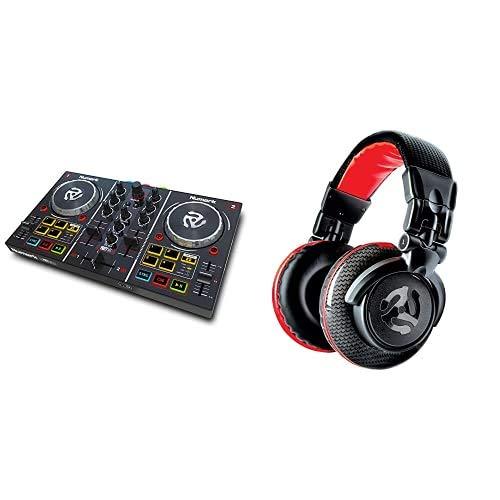 Numark Party Mix Console DJ a 2 Canali per Serato DJ Lite, con Scheda Audio Integrata, Presa Cuffie, Controlli Pad & RedWave Carbon Cuffie per DJ Full Range, Leggere, Pieghevoli, Cavo Scollegabile
