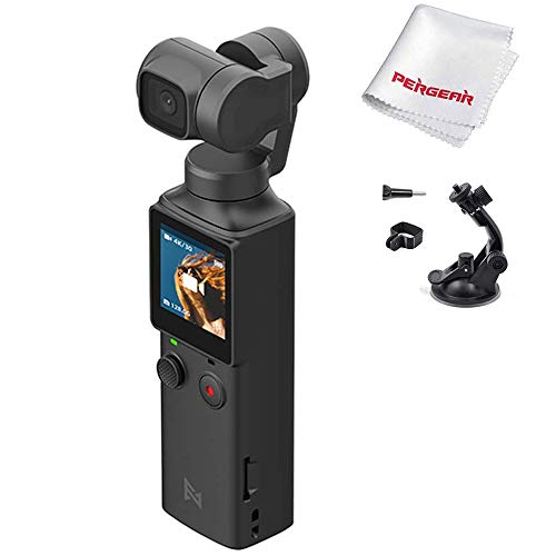 FIMI PALM XIAOMI 3 Axis Gimbal Stabilizer with 4K Smart Camera, 128° Ultra Wide Angle Lens, Wi-Fi & Bluetooth Connection, Built-in Microphone and external MIC Supported, W Suction Cup Extension Holder