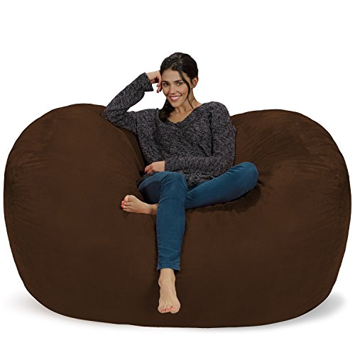 Chill Sack Bean Bag Chair: Huge 6' Memory Foam Furniture Bag and Large Lounger - Big Sofa with Soft Micro Fiber Cover - Chocolate