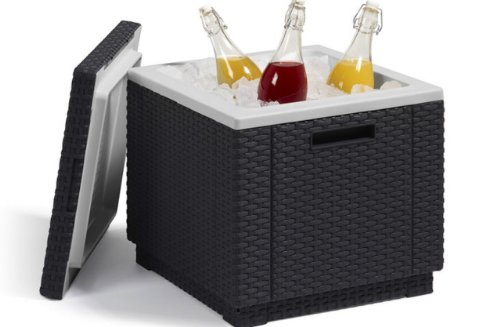 Allibert 212159 Ice Cube Sgabello frigorifero in plastica, aspetto rattan, colore: Antracite