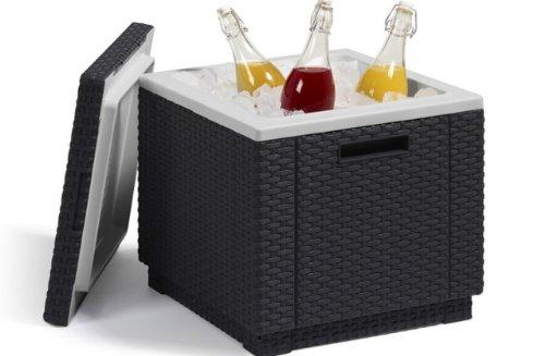 Allibert 212159 Ice Cube Sgabello frigorifero in plastica, aspetto rattan, colore: Antracite