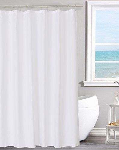 N&Y HOME Fabric Shower Curtain Liner Solid White with Magnets, Hotel...