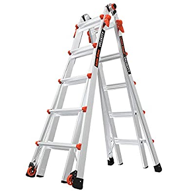 Multi-position ladder converts to A-frame, extension, trestle-and-plank, 90-degree and staircase with ease Rock Lock adjusters quickly alter your ladder into different configurations Tip & Glide wheels for easy transport from job to job Type IA ladde...