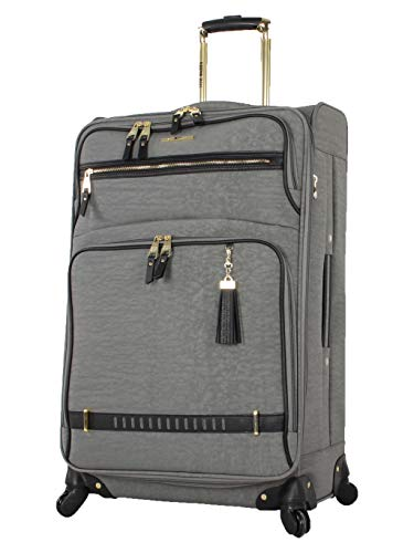 Steve Madden Designer Luggage Collection - Lightweight 24 Inch Expandable Softside Suitcase - Mid-size Rolling 4-Spinner Wheels Checked Bag (Peek A Boo Gray, 24in)
