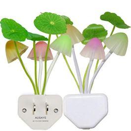 2 Pack Led Night Light w/Dusk to Dawn Sensor,AUSAYE 0.6W Plug-in Night Light Lamp, Night Lights for Kids Adults Mushroom Night Light Wall Lamps NightLight for Mothers Day Gifts