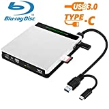 External Blu Ray DVD Drive NOLYTH 5 in 1 USB3.0/USB C Blu Ray Drive 3D Blu-Ray Writer Player Burner Drive for Laptop/Mac/MacBook/Windows/PC with SD/TF Card Reader/2 USB3.0 Hubs/Protective Storage Case