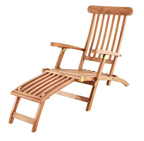 SAM Teak-Holz Sonnenliege Puccon, verstellbare Gartenliege, klappbar, ideal für Balkon, Terrasse und Garten