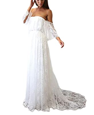2019-2020 Vintage Lace Wedding Dress For Bride Off Shoulder Long Beach Wedding Gown Strapless neckline with loose off shoulder sleeves shows your charming clavicle, empire waistline with a line style looks slimmer, all lace decorated design make the ...