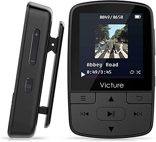 Victure Lettore MP3 Bluetooth con Clip 8GB MP3 Player con Radio FM, MP3 Player per Sport e Corsa, sostegno SD USB TF Fino alla Carta di 128GB