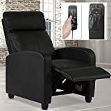 Recliner Chair, Padded Wide Seat Sofa PU Leather Massage Reclining Chair with Footrest & Backrest, Wingback Heavy Duty Modern Single Sofa Home Theater Seating Easy Lounge for Living Room, Black