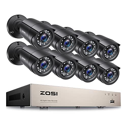 ZOSI Kit Videosorveglianza 1080P Sistema di telecamere di sicurezza Full HD senza disco rigido H.265+ DVR con set 8CH CCTV da esterno 8X 2MP, allarme di movimento