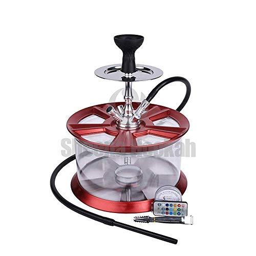 HOOKHA® Cachimba Narguile Nuevo diseño de Rueda de acrílico buje Felgen Shisha Set con LED Llantas Hookah Kit