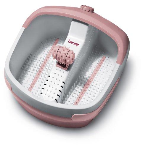 Beurer FB 25 Fußbad mit Vibrations- und Sprudelmassage, integrierte Magnetfeldanwendung, Massage-Rollaufsatz für eine Fußreflexzonenmassage, weiß/rosa