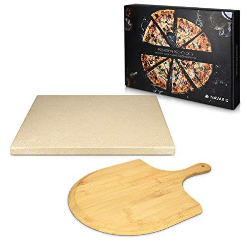 Navaris Pietra Refrattaria per Cottura Pizza - per Cuocere nel Forno di Casa Pane Pizze - Teglia Rettangolare 38x30cm Cordierite 800 con Pala bamb