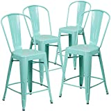 Flash Furniture Commercial Grade 4 Pack 24' High Mint Green Metal Indoor-Outdoor Counter Height Stool with Back
