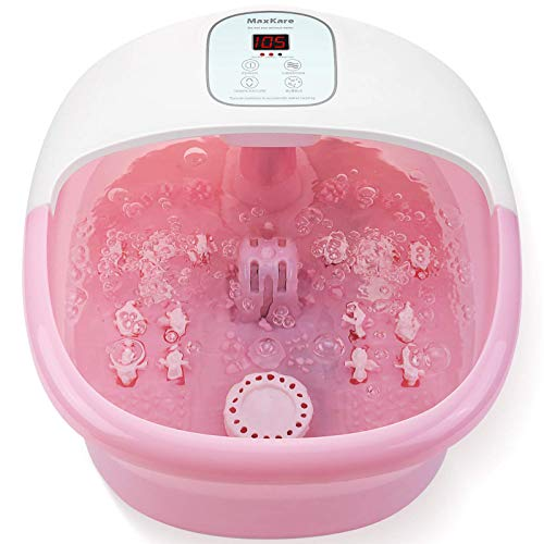 Foot Spa Bath Massager with Heat Bubbles Vibration and 14 Massage Rollers to Soothe Tired Feet Pressure with Adjustable Temperature Pedicure Soaking Tub for Home Office Use