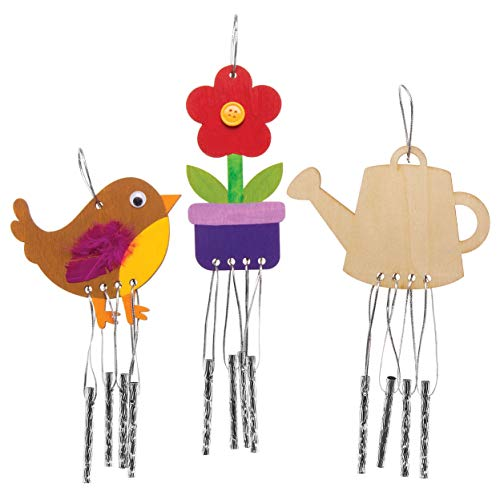 Baker Ross Scacciapensieri in legno a tema giardino (confezione da 4) - Scacciapensieri per bambini, da decorare ed esporre