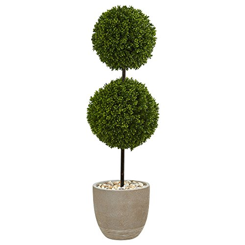 Nearly Natural Boxwood Double Ball Topiary in Oval Planter, 4'