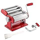 bremermann Machine à pâtes - pour Spaghettis, pâtes et lasagnes (7 Positions), Machine à pâtes, Pasta Maker (Rouge)