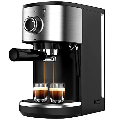 Bonsenkitchen Machine à Expresso, Machine à Café en Acier Inoxydable Haute Puissance, 1450 W, 15 Bars Machines Combinées Filtre et Expresso pour Cappuccino et Latte Machiato (CM8902, 1.25 L)