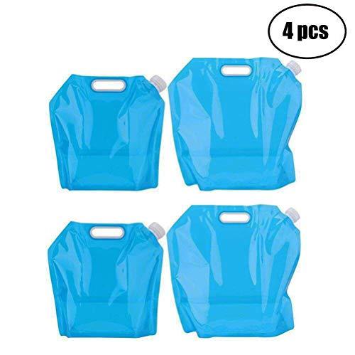 Tebery Poche Sac à Eau, 2*10L+2*5L Sac d'eau Pliable 4 pièce Eau Potable...
