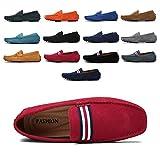 AARDIMI Mocassins en Daim Hommes Penny Loafers Casual Bateau Chaussures de Ville Flats 38-49 (Rouge,41EU)