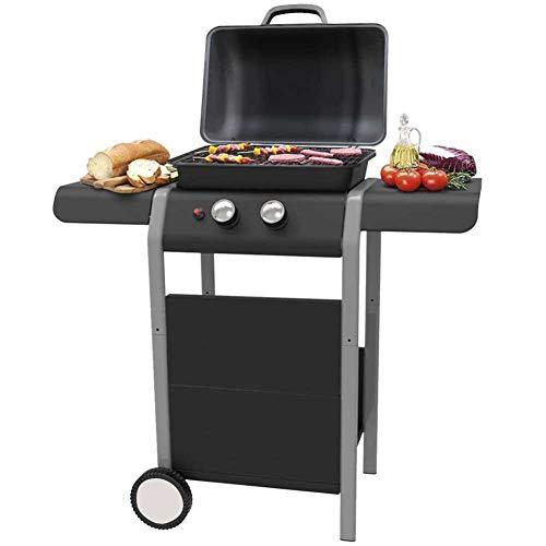 BAKAJI Barbecue a Gas 2 Fuochi Bruciatori Griglia BBQ con 2 Piani Laterali Ruote e Ripiano Inferiore Grill 5kw Area di Cottura 46 x 34 cm per Esterno Giardino Terrazzo