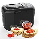 KIKET Smart 3.5 LB Bread Machine,18-in-1 Automatic Bread Maker with Homemade Function,2 Paddle Breadmaker with Nonstick Ceramic Pan, Recipes & Accessories Included, Black
