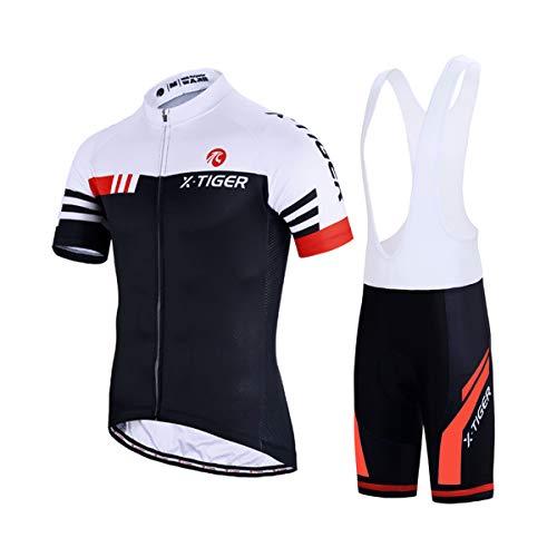 X-TIGER Hombres de Bicicleta con 5D Gel Acolchado MTB Ciclismo Tirantes Culotte Pantalones Cortos Culotes (XL, Rojo y Blanco)
