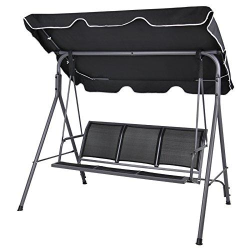 BB Sport 3-Sitzer Hollywoodschaukel BIBIONE mit abnehmbarem und neigbarem Sonnendach Gartenschaukel für 3 Personen belastbar bis 250 kg Schutzhülle optional, Farbe:Titanschwarz