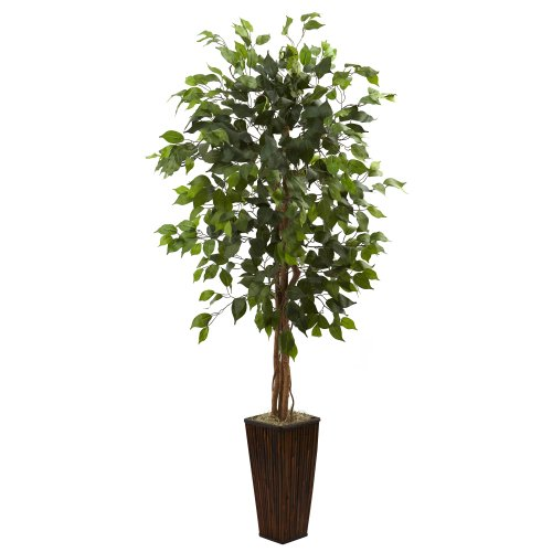 Nearly Natural 5924 5.5ft. Ficus Tree with Bamboo Planter,Green