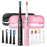 Fairywill Dual Sonic Electric Toothbrushes for Adults & Kids - 10 Brush Heads 2 Travel Cases Included, 5 Modes with Smart Timer, Rechargeable Whitening Toothbrush USB Charging Lasts 30 Days