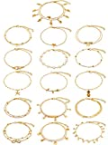 16 Pieces Ankle Bracelets Wrist Chains Adjustable Anklet Chains Foot Hand Jewelry for Women Girl (Gold)