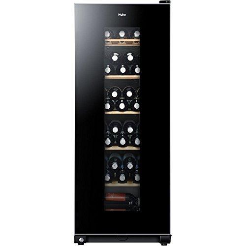 Haier WS59GAE - Cantinetta per vino, 59 bottiglie, altezza 127 cm, protezione UV, display LED per la regolazione della temperatura, illuminazione interna