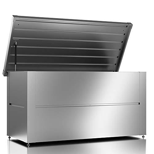 ILESTO Aufbewahrungsbox aus Stahl, Benni-Boy (401L): Auflagenbox wasserdicht L | Kissenbox für Ihren Garten 135x65x69cm | Stauraum für den Außenbereich | Silber Metallic