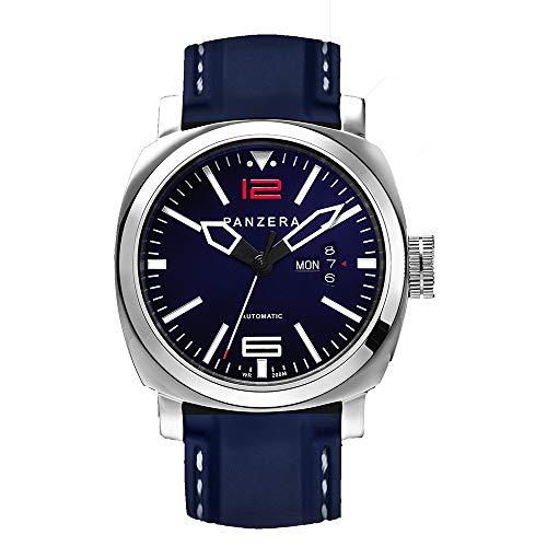 Panzera Aquamarine Diver Automatik Edelstahl Blau Datum Silikon Herren Uhr