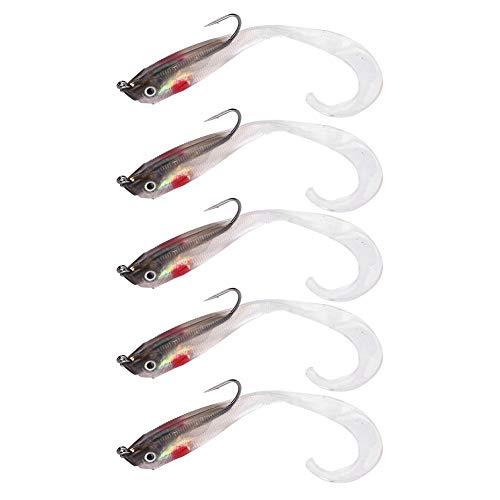 Alomejor 5 Pz Richiamo di Pesca Artificiale Esca Falso Esche Morbide Spigola Jig Lure per Pesca All'Aperto(SO050-5)