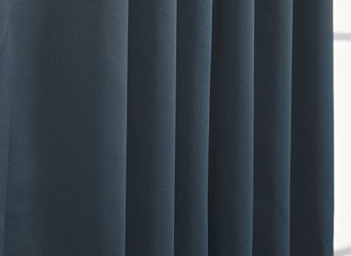 """Best Home Fashion Basic Thermal Insulated Blackout Curtains - Back Tab/Rod Pocket - Navy - 52"""" W x 63"""" L – No tie backs (Set of 2 Panels)"""