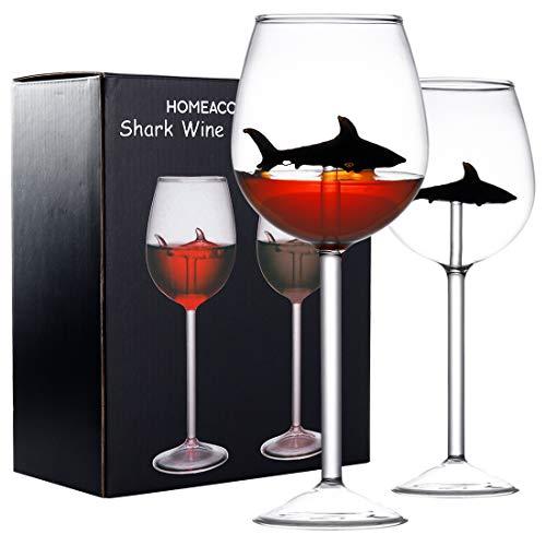 GENNISSY Set di 2 bicchieri da vino rosso squalo, ottimo regalo per degustazione di vino, compleanno, anniversario, matrimonio, calici da 283,5 g