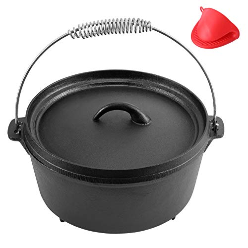 Cast Iron Dutch Oven Pre-seasoned Pot with Lid Lifter Handle, 5 Quart Camp Cookware Pot with Silicone Handles for Camping Cooking, BBQ, Basting, or Baking, Black Cast Iron
