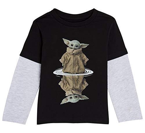 Star Wars Camiseta Niño, Camisetas Niño de Manga Larga Gris y Negra, con Baby Yoda The Mandalorian...