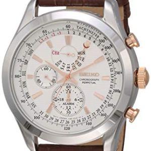 Seiko Men's SPC129P1 Neo Classic Alarm Perpetual Chronograph White Dial Brown Leather Watch 42