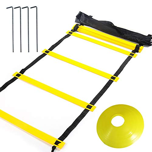 YBCPACK Agility Ladder Speed Ladder 6M 12-Rung With 12 Yellow Disc Cones, A carry bag- Training Ladder for Kids Adults Football Speed Training