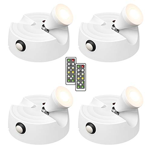 Olafus 4 Pezzi Lampada LED per Quadri a Batteria 200LM 2700K Lampadina LED Quadri Orientabili...