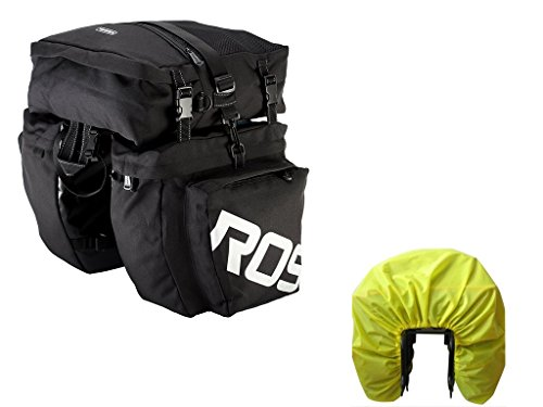 Bike Pannier Bag with Rain Cover, Bicycle Rear Seat Trunk Bag Waterproof, 3 in 1 Rear Rack Bicycle Saddle Bag for Cycling