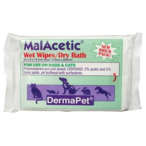 DermaPet MalAcetic Wet Wipes/Dry Bath, 25 Count...