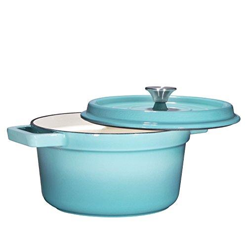 Bruntmor, Enameled Cast Iron Dutch Oven Casserole Dish 6.5 quart Large Loop Handles & Self-Basting Condensation Ridges On Lid (Turquoise)