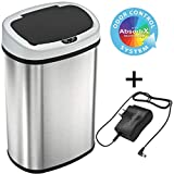 SensorCan 13 Gallon Battery-FREE Automatic Sensor Kitchen Trash Can with Power Adapter, Oval Shape Stainless Steel Garbage Bin with AC Plug