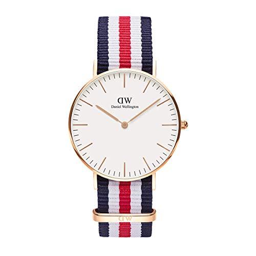 Daniel Wellington Classic Canterbury, Blau-Weiß-Rot/Roségold Uhr, 36mm, NATO, für Damen und Herren
