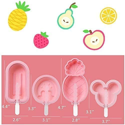 Silicone Popsicle Molds, 4 Pack Ice Cream Mold Reusable Soft Silicone Pop Maker with Lid Popsicle Sticks, Easy Release BPA Free Molds Pink.
